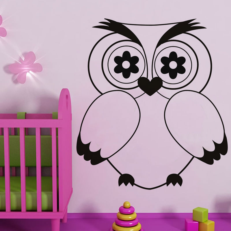 Animal Wall Decal Vinyl Hollow Out Home Decor Cute Cartoon Owl Wall Sticker For Girls Bedroom