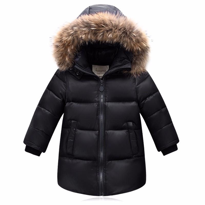 Скидки на Высота 100-160 см Новая мода Дети зимняя одежда зима утка пуховик для девочек мальчиков Натурального меха енота воротник pakars