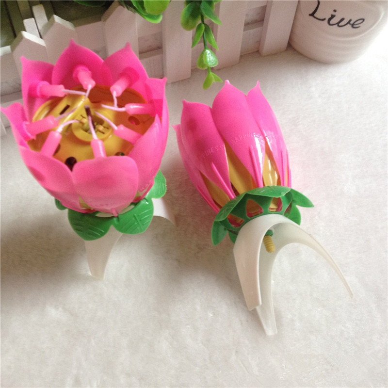 Happy Birthday Art Candle Light Beautiful Rotatable Musical Flower Home Party Decoration Good Gift - JJBird store