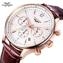 Buy Watches Men Luxury Original Brand GUANQIN Sport Watches Men Fashion wristwatch Chronograph waterproof Male leather Quartz watch for $23.76 in AliExpress store