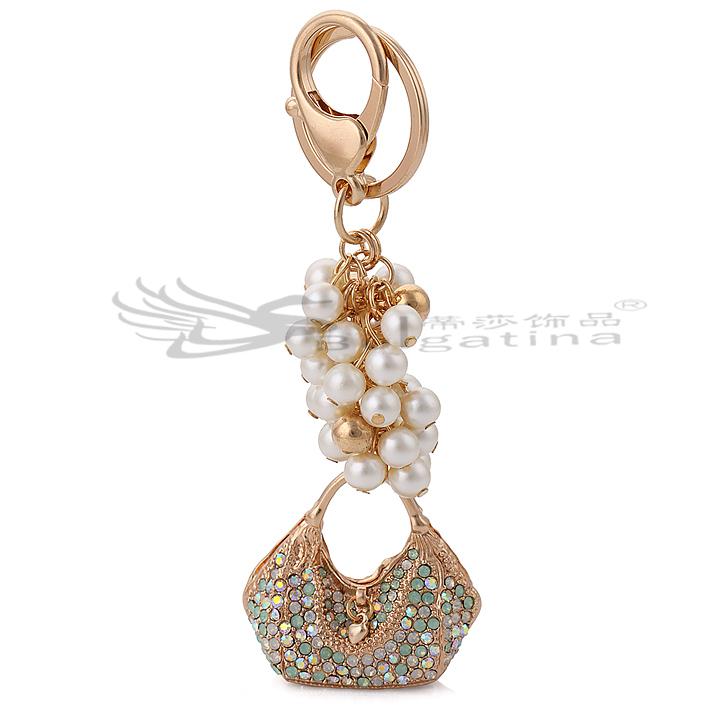 2015 new fashion Handbag hot lovely Keychain Rhinestone purse Bag Key chain Keyring Car Fresh Water Peal - Disha Findings store