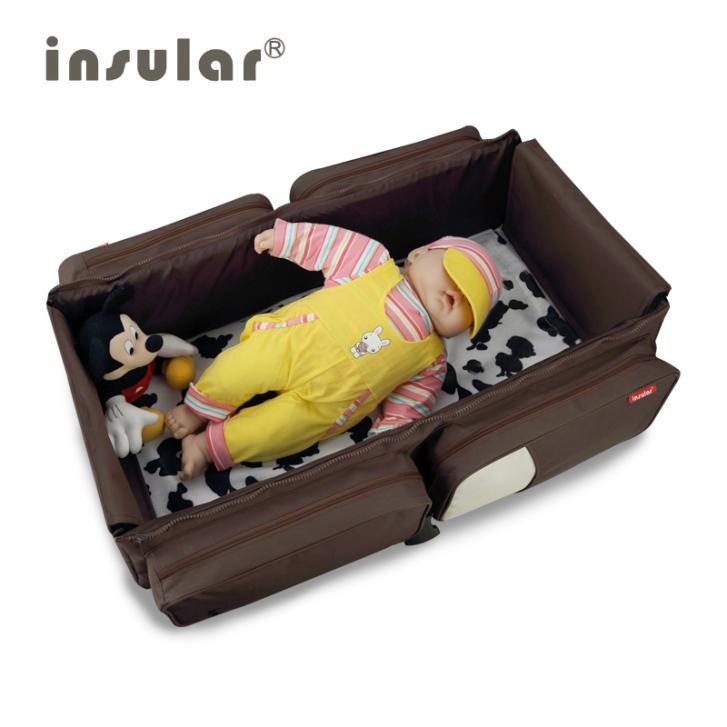 New Arrival 2 in 1 Multifunctional Travelling Baby Diaper Bag Fold Baby Bed Changing Bags Mommy Bag Portable Infant Bed(China (Mainland))