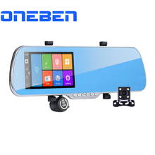 "5.0"" IPS Touch Android 4.4 ROM 16GB FHD1080P Dash Camera Parking Car Dvrs Rearview Mirror Video Recorder Car DVR Dual Camera GPS(China (Mainland))"