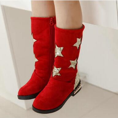 New Arrival 2016 Fashion Children Boots Mid-Calf Zip Glitter Plush Warm Martin Boots Boys Girls Shoes Winter Flat with 02(China (Mainland))