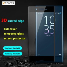 Vcover 3D Curved edge Full Cover Tempered Glass Screen Protector For Sony Xperia XZ X Compact Protective Film For Xperia XC(China (Mainland))