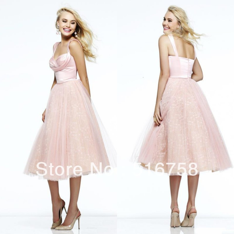 Sweetheart Neckline Ruched Bust Think Straps Empire Waist Tulle Cocktail Prom Dresses 2014 Pink Party Dress(China (Mainland))