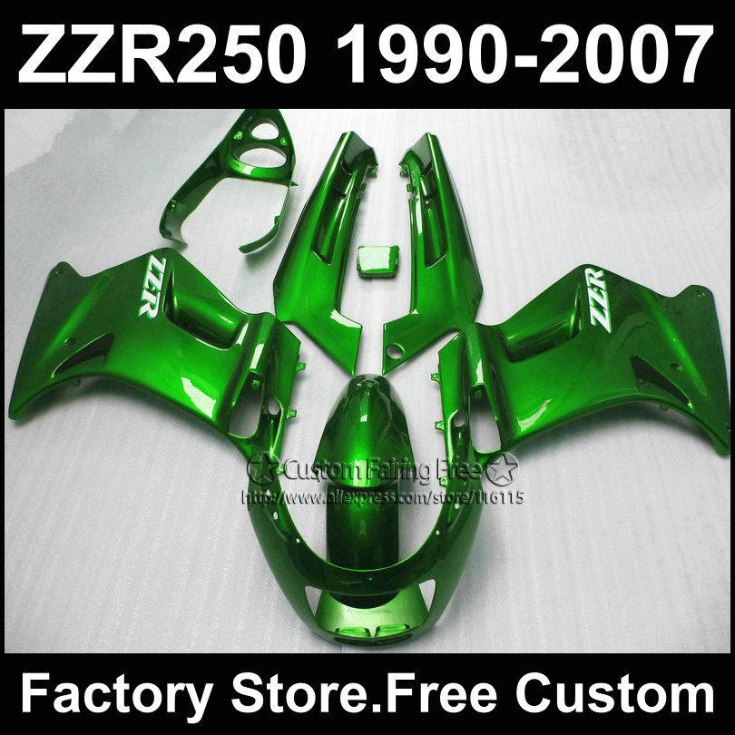 ABS plastic factory fairings kit for Kawasaki ZZR-250 ZZR250 1990 1992 2007 ZZR 250 90-07 dark green motorcycle fairing parts<br><br>Aliexpress