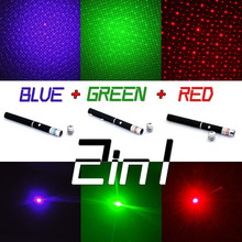Powerful 3 Color laser Pen Puntero Laser Pointer 5mw Caneta Laser Green/Red/Blue Violet Lazer Verde With Star Cap(China (Mainland))