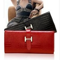 New 2015 fashion portefeuille women female leather string crocodile long famous brand designer wallets purse carteira feminina 5