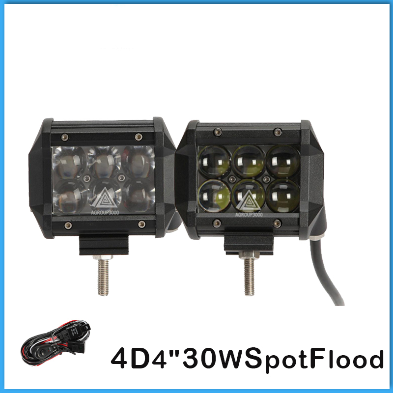 2pcs OSRAM Chips 4 inch 30W Led Light Bar Car LED Spot Beam ATV 4x4 Led Bar Offroad Wagon AWD Truck 4WD Pickup SUV DC 9~32V(China (Mainland))