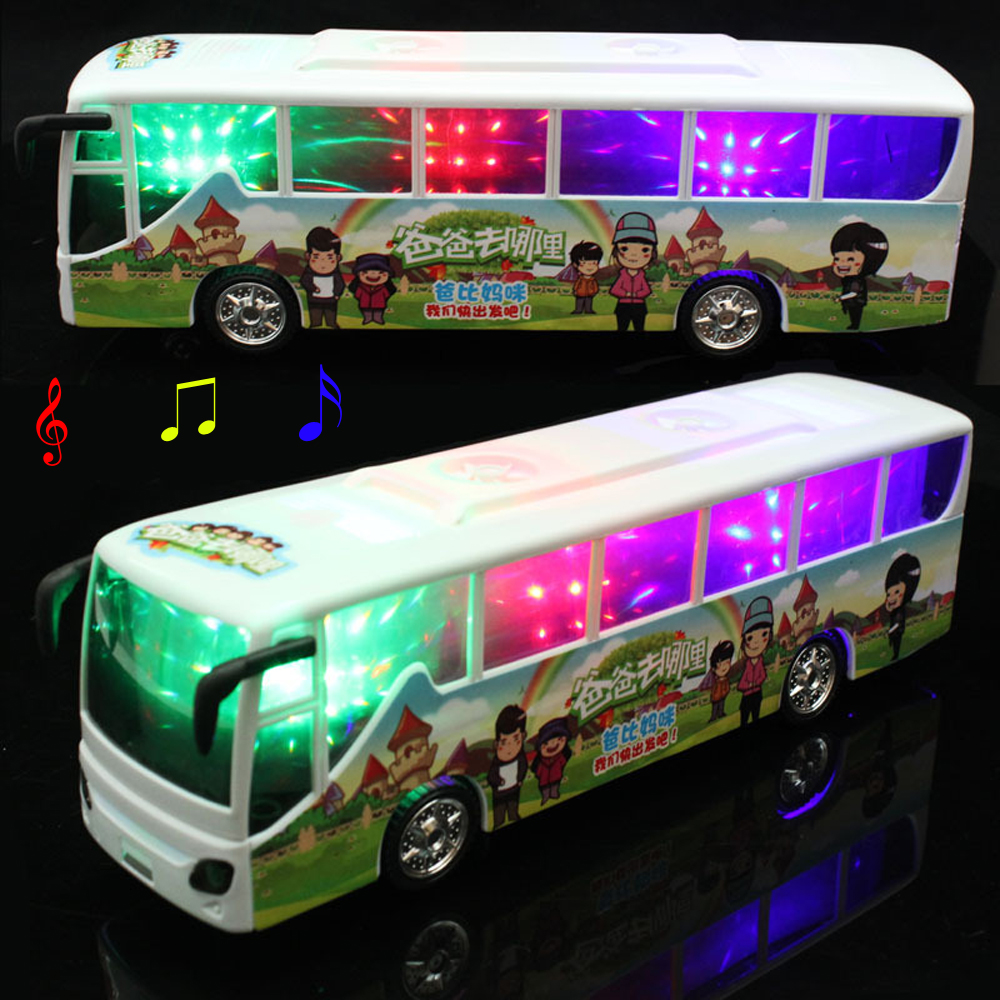 Universal Automatic Steering LED Flashing Music Electronic Bus Toy Lighting Car Toy Best Gift For Kids(China (Mainland))