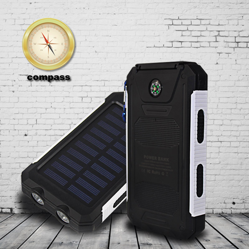 New style 10000mah dual usb Waterproof solar power bank dual led light bateria externa Portable solar charger for mobile phone(China (Mainland))