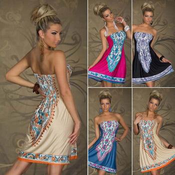 Большой размер 1 шт. женские летние печать платья модные платья дамы одежда завернутый груди талии богемный свободного покроя пляж платья