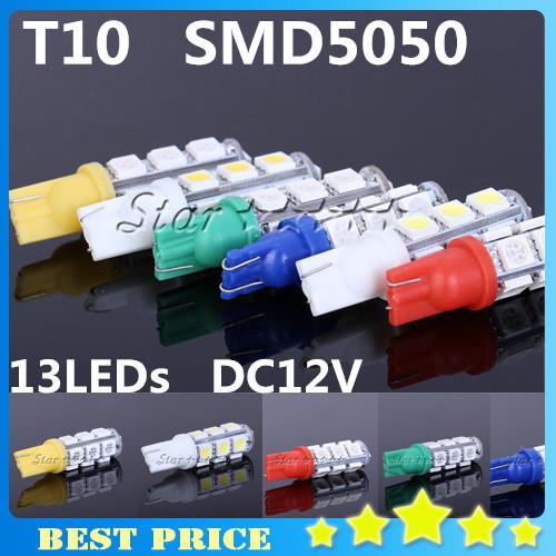 2pcs/lot T10 13 SMD 5050 License Plate Pure White 194 W5W 13 LEDs Car Light Lamp Bulb V6 DC12V R/G/B/Y/W(China (Mainland))