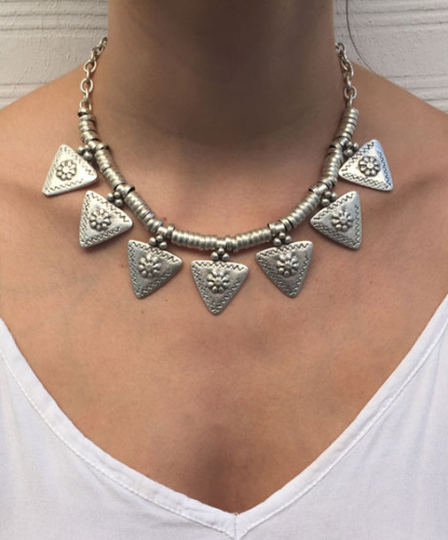 Bohemian Ethnic Chunky Chain Carved Flower Triangle Charms Tassel Choker Statement Necklace Turkish Gypsy Tribal Belly Jewelry(China (Mainland))