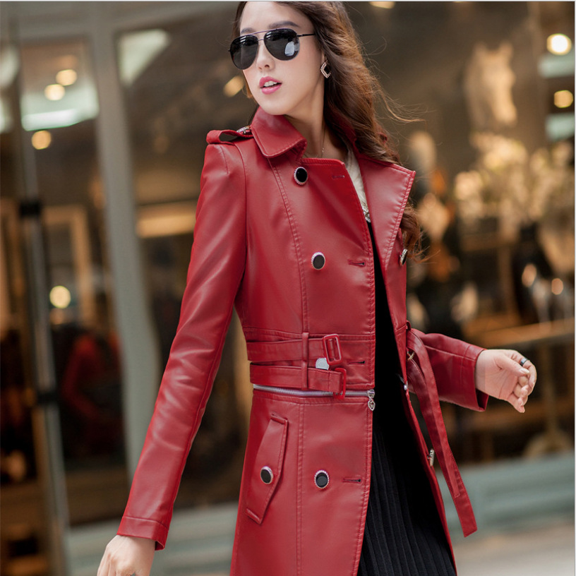 Red Leather Coat Womens | Down Coat