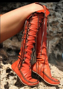 New Knee HIgh Lace Up Fringe Tassel Gladiator Women Flats Boots Romatic Bohemia Genuine Leather Women Bootie Galaxy Dream Boots(China (Mainland))