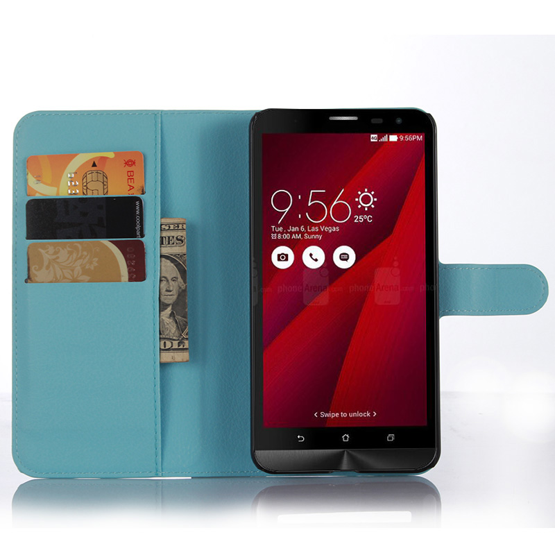 Litchi Texture Flip Leather Cover Case Asus ZenFone 2 Laser ZE601KL 6.0 inch Wallet Style Magnetic Protective Shell  -  Chuker Store store