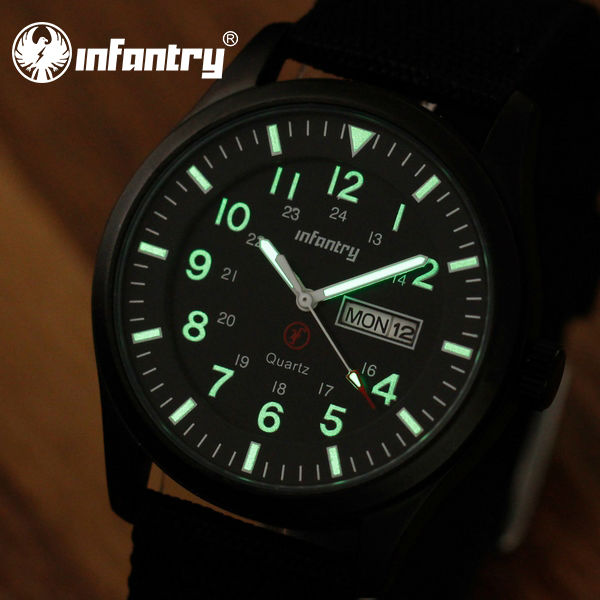 INFANTRY Men's Royal Military Date Day Quartz Wrist Watch Luminous Black Canvas Strap NEW Fashion Casual(Hong Kong)