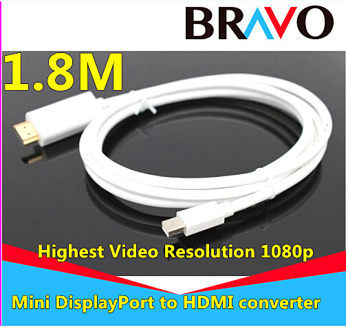 1.8M/6FT Thunderbolt Displayport Mini Display Port DP to HDMI Male Adapter cable For Apple Macbook Mac Air(China (Mainland))