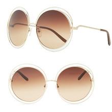 2015 NEW High quality Elegant Round Wire Frame Sunglasses Women mirror gradient Glasses shades Oversized Eyeglasses