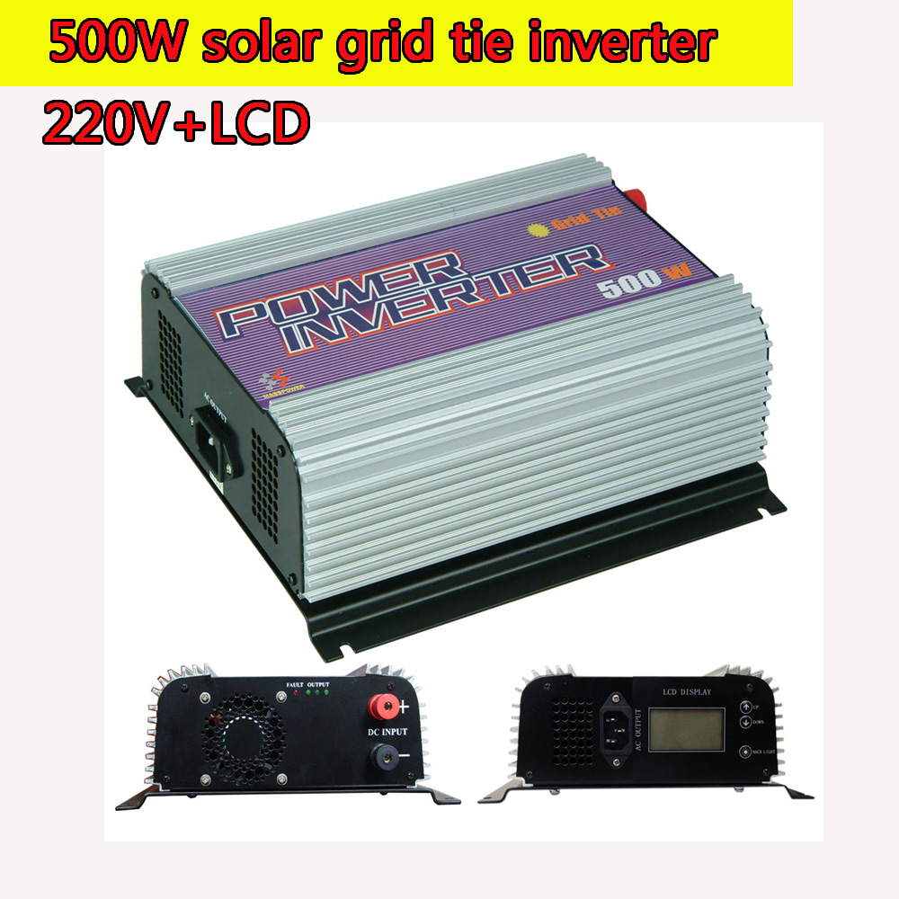 500W 220V LCD Grid Tie Inverter Pure Sine Wave MPPT Function 10.8V to 30V and 22V to 60V Input Low Cost and Easy Installation(China (Mainland))