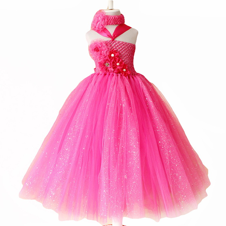 New year flower girls fashion party princess dress for Glitter new years dresses