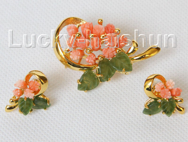 AAA 100% natural carved pink coral green jade Earrings brooch set j10825A560<br><br>Aliexpress