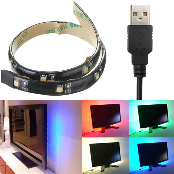 Multicolor 30CM 3528 SMD 12 Led Flexible Strip Light Waterproof With USB Port Cable Super Bright Home Decoration Lamp Lighting(China (Mainland))