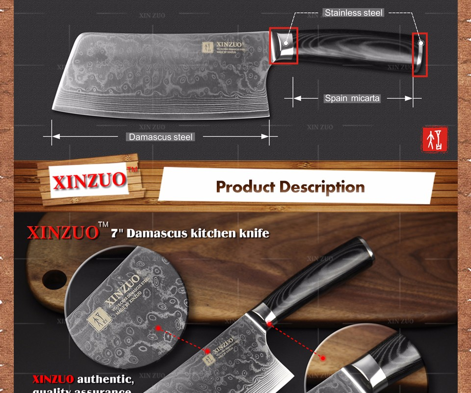 Buy Well NEW !!! damascus knife professional cleaver chopper kitchen stainless steel metal brank  Damascus Japanese  free shipping cheap