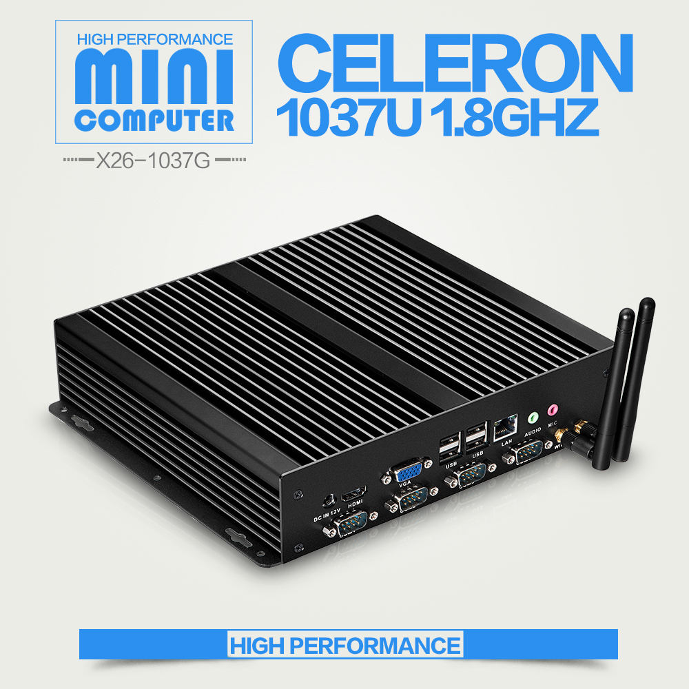 XCY Newest Industrial Mini Computer Fanless CELERON C1037U Win7 Xp Win8 Linux Desktop PC Mini 6