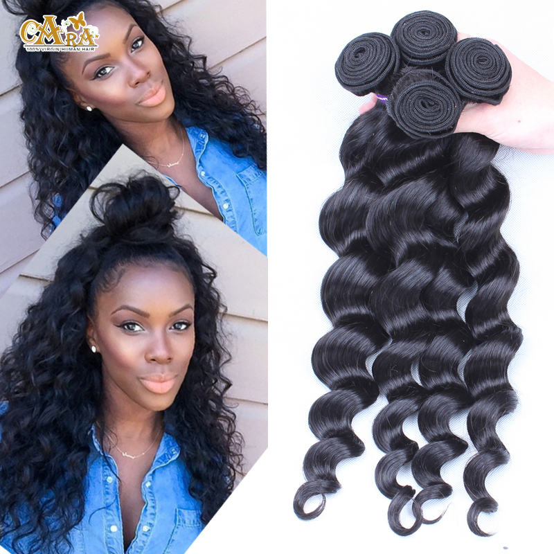 Peruvian Virgin Hair Bundles 3pcs 6A Unprocessed Human Hair Weaves Peruvian Loose Wave Natural Black Rosa Hair Products(China (Mainland))