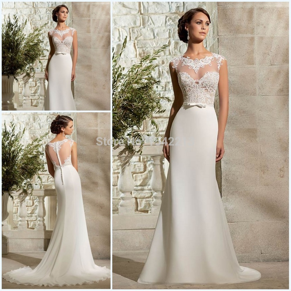 Lace Wedding Dress With Cap Sleeves Style D1919 : Style lace appliqued long short cap sleeves vintage sheath wedding