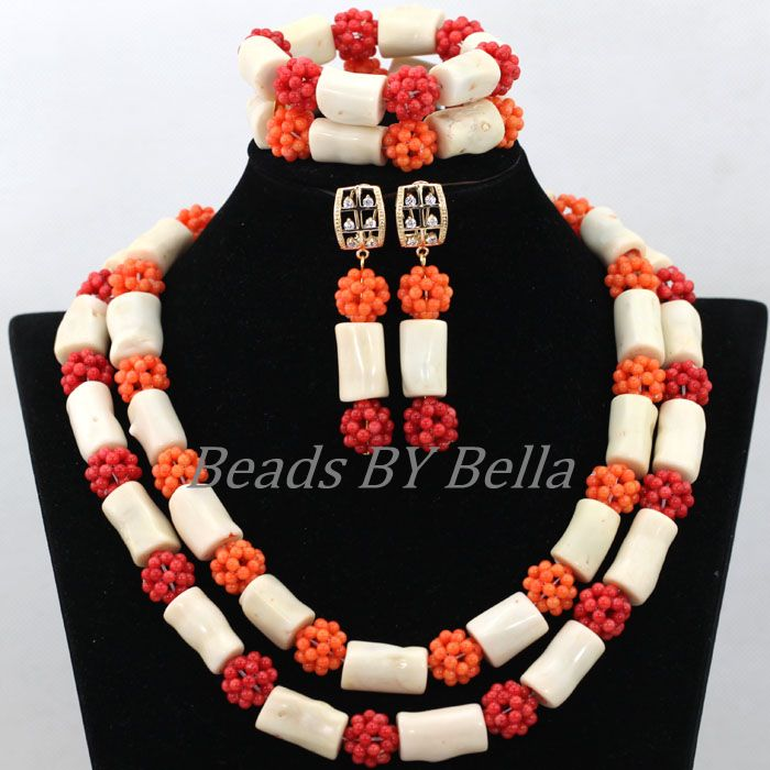 New Arrival African Wedding Beads Necklace White Coral Nigerian Bridal Jewelry Sets Red Coral Balls Jewelry Free Shipping ABK080<br><br>Aliexpress