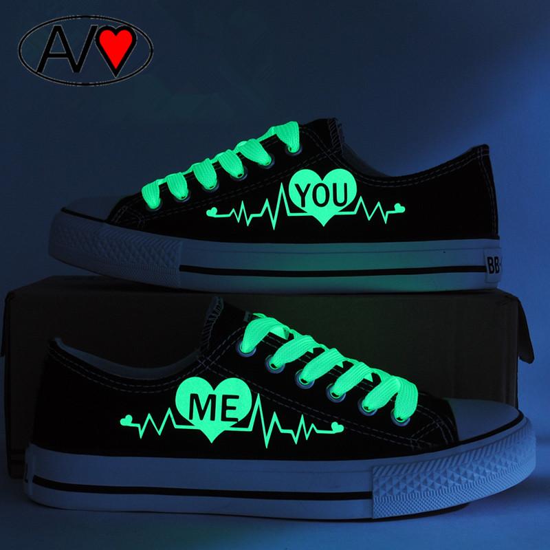 2016 Мода Световой Низкой Холст Обувь Любителей Обувь Женская Печати Повседневная Обувь Light Up Glow обувь Женская Обувь