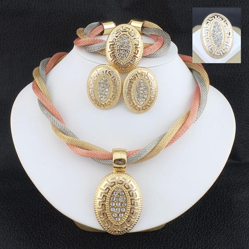 Jewelry sets wedding crystal bridal african gold platsd necklace earrings Bracelet ring dubai women sets jewelry 3