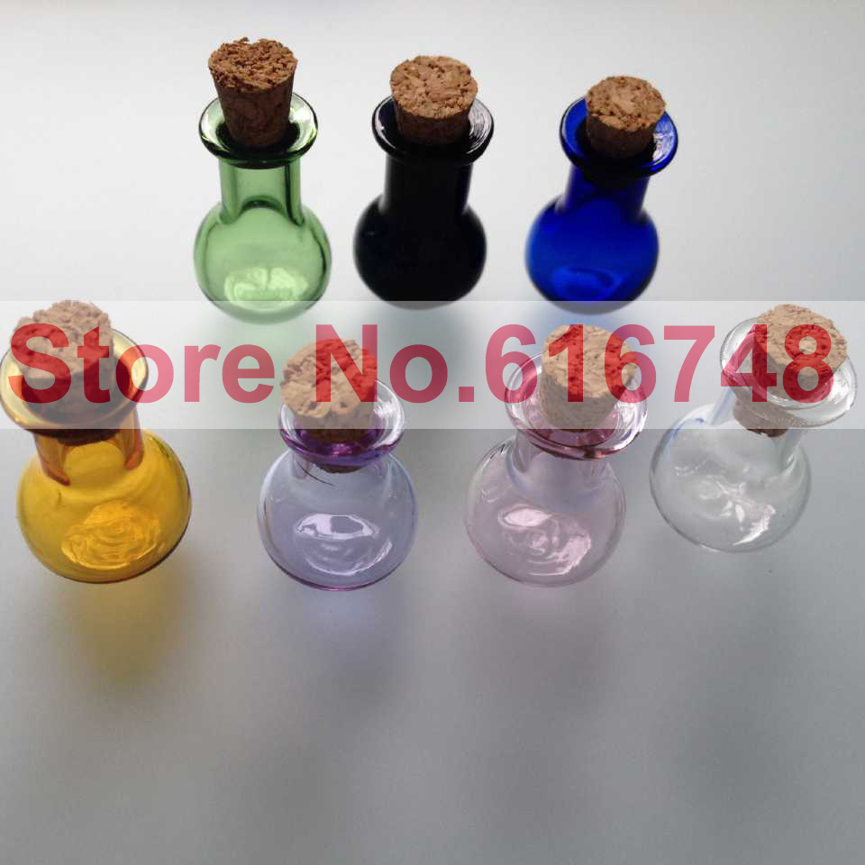 Frees 2ml glass bottles with wood cork stoppers flat for Colored glass bottles with corks