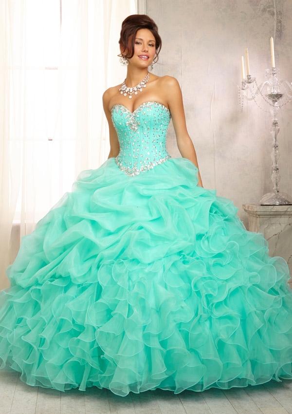 Vestidos De Baño Verde Menta:Quinceanera Dresses
