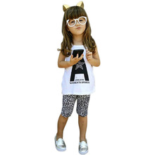 2PCS Outfits Toddler Kids Girls Baby T-shirt Tops+Leopard Pants Set Costume 2-7Y(China (Mainland))