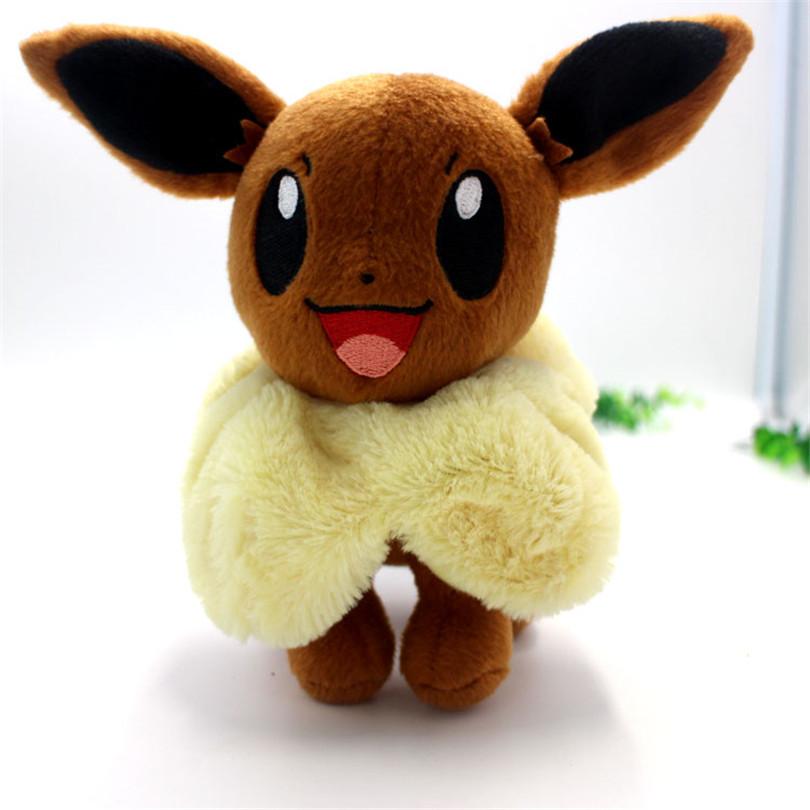 New Hot Anime Pokemon Eevee Plush Toys 20cm Kawaii Eevee Genius Soft Stuffed Animals Doll for Kids Toys Children Birthday Gift(China (Mainland))