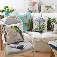 American country flowers and birds linen cushion pillowcase throw pillow