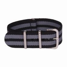 Multi Color negro gris 22 mm militar del ejército de pulsera para otan la correa de reloj cinturón de Nylon negro tejida de fibra de 22 mm hebilla