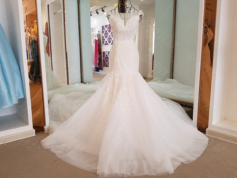 LS17006 Sexy mermaid wedding dress see through back cap sleeves tulle lace wedding gowns 2017 robe de mariee sirene 12