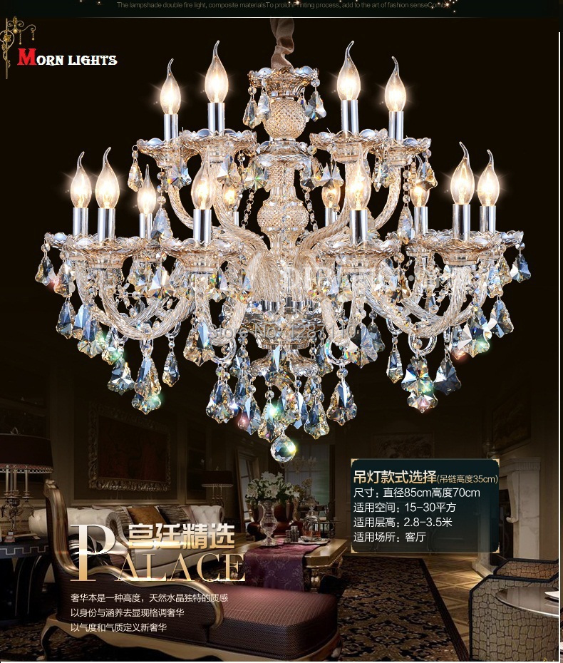 12 arms/15 arms cristal lustre luxury modern crystal chandelier lighting pendants for chandeliers abajur para quarto<br><br>Aliexpress