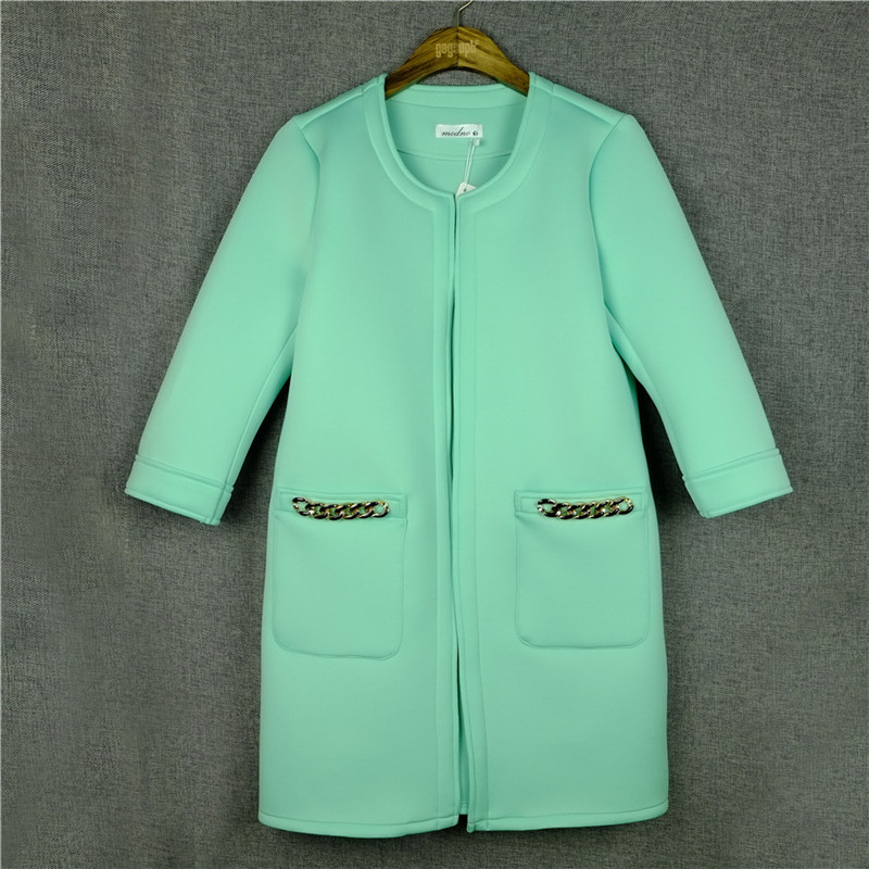 Gagaopt 2016 New woman Fashion Summer cotton long overcoat ladies casual Jacket coat pink green yellow Cardigan with Chain S-XL(China (Mainland))