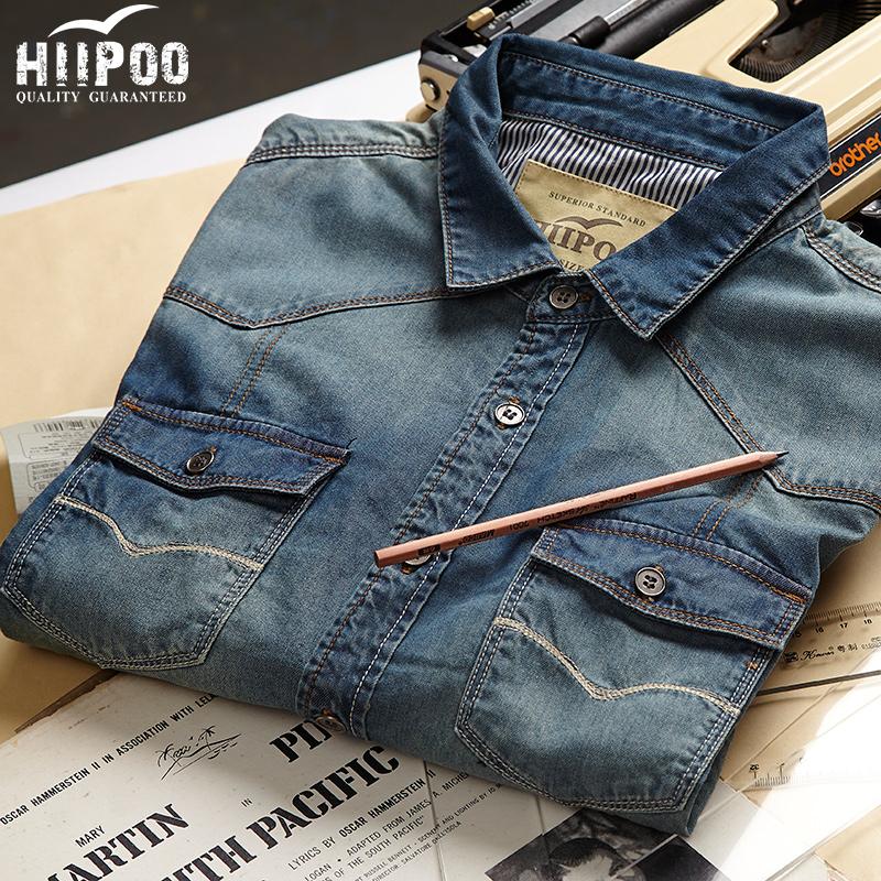 2014 Spring Men 100% cotton slim denim shirt Plus size:S-4XL Long-sleeve college city boy fitness S119G
