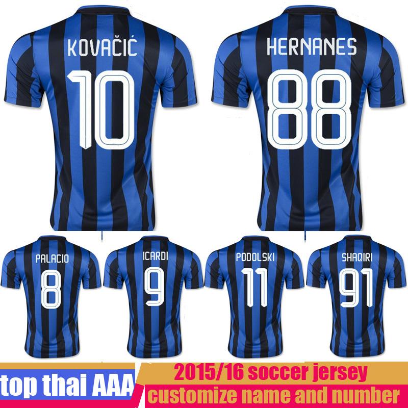 2015 2016 inter soccer jersey thai quality 15 16 KOVACIC HERNANES VIDIC SHAQIRI MILAN ICARDI GUARIN football shirts(China (Mainland))