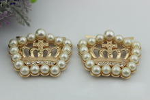 6pcs/lot Pale golden pearl crown metal hardware shoe buckle ornaments DIY craft bag accessories(China (Mainland))