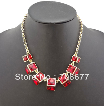 New Arrival Womens Color Choose Golden Metal Geometry Statement Necklaces Crystal Choker Necklace Free Shipping