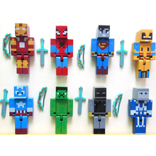 24pcs/lot Minecraft Superhero building block Toy set  2015 New minecraft Series 3 sword zombie steve juguetes figurine pickaxe (China (Mainland))